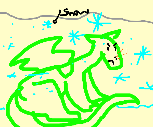 Dragon gets snowed on, not happy bout it