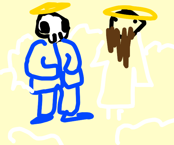 Sans goes to heaven and meets Jesus
