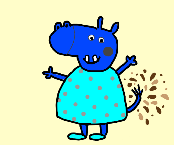 peppa pig but blue hippo