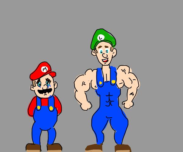 sad mario and buff luigi without a mustache