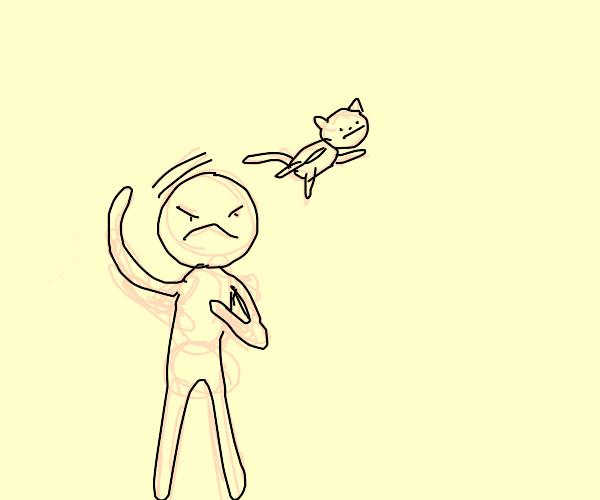 dude yeets a cat away