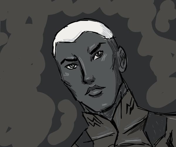 Noir Man With White Hair