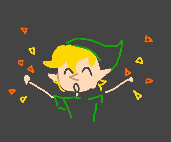 Link celebrating