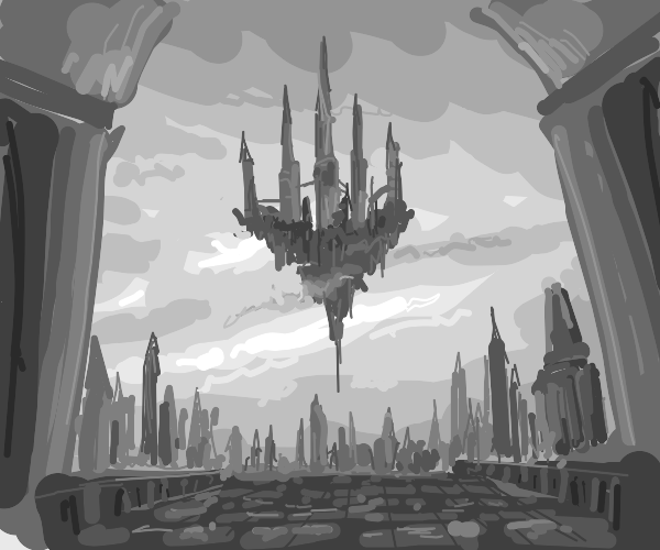 Gray scale floating island city.