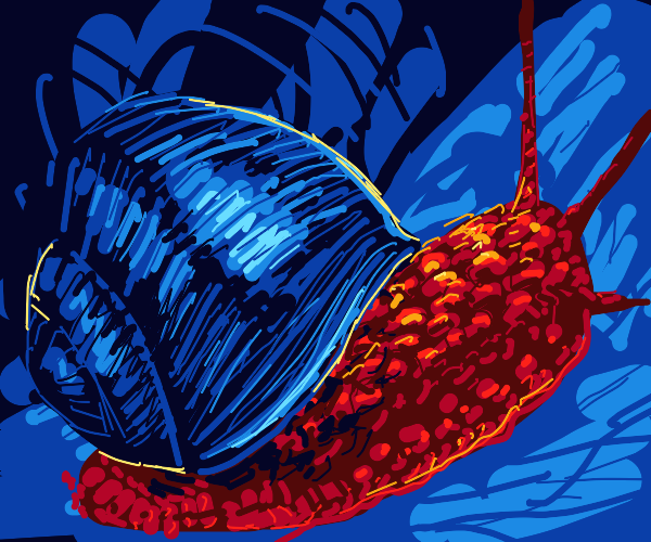 red snail w/ blue shell