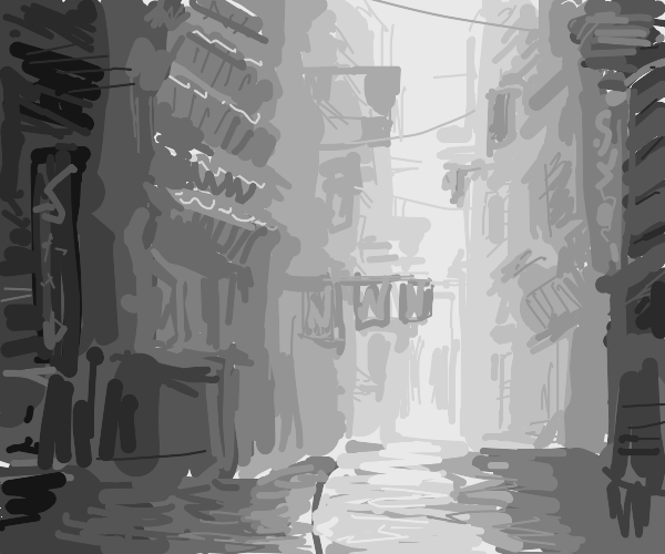 A greyscale alley way of an apartment complex