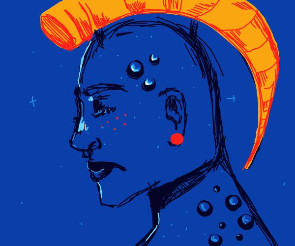 He wore an orange horn like a crown
