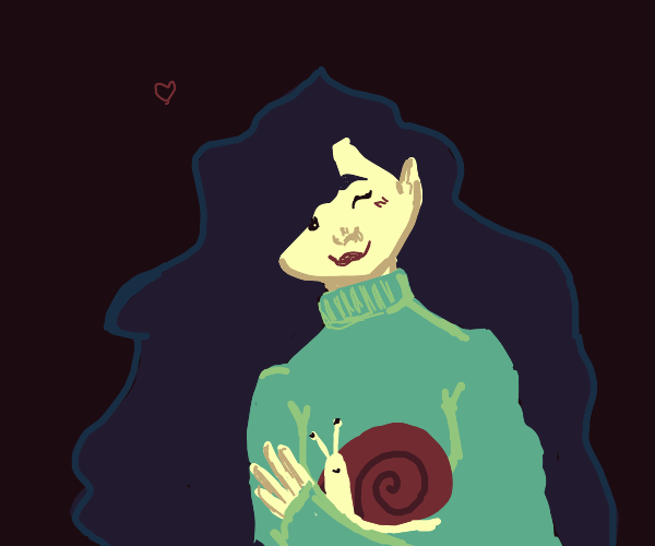 Girl in turtleneck with her snail friend