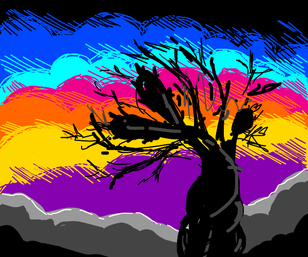 Withering tree in front of a sunset