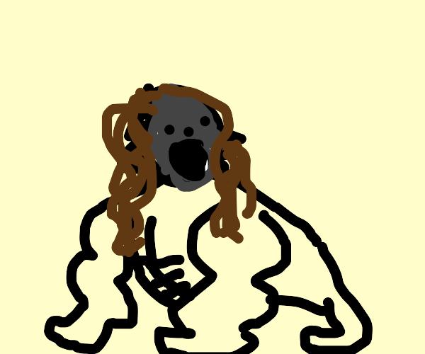 Harambe with long luscious hair