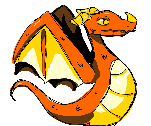orange dragon with no legs