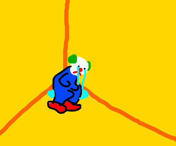 clown cries in a yellow box