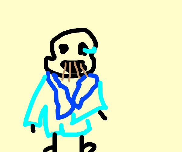 Sans with cocktail stick teeth