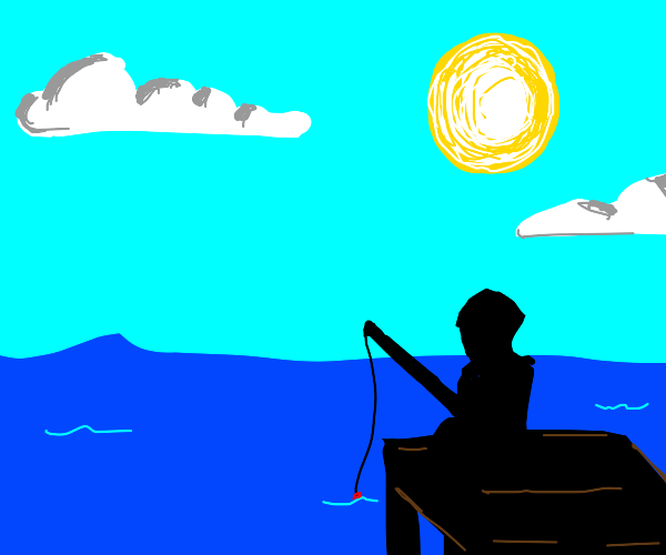 An sunny day with an guy fishing