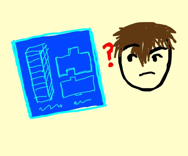 Man questioning blueprints