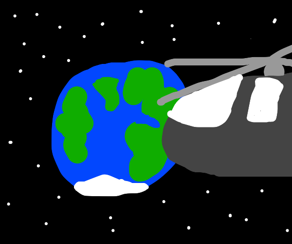 a helicopter is bigger then the earth