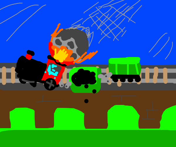 Train hit by a meteor