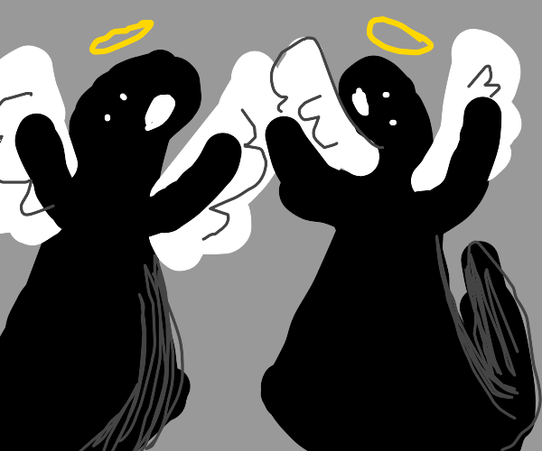 Two black angel ghosts