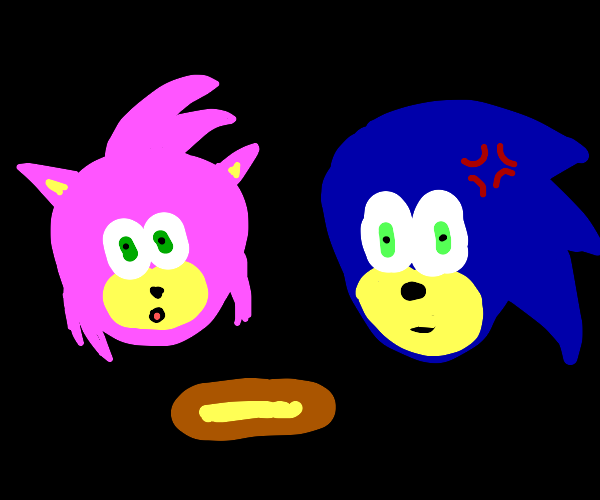 Amy ate all of Sonic's chilidogs and he's mad