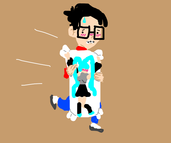 Fast nerd with anime pillow