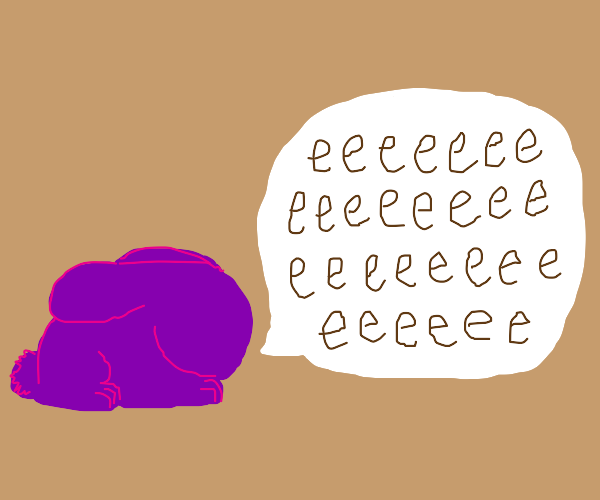 """A purple rabbit that only says """"e""""s"""