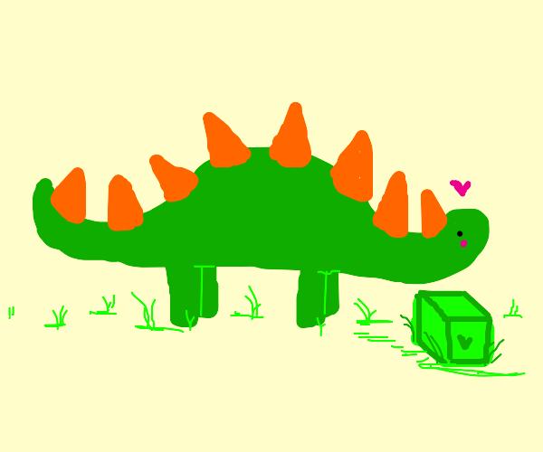 dinosaur with green box