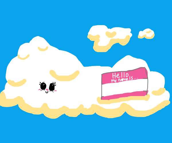 Cute cloud with nametag