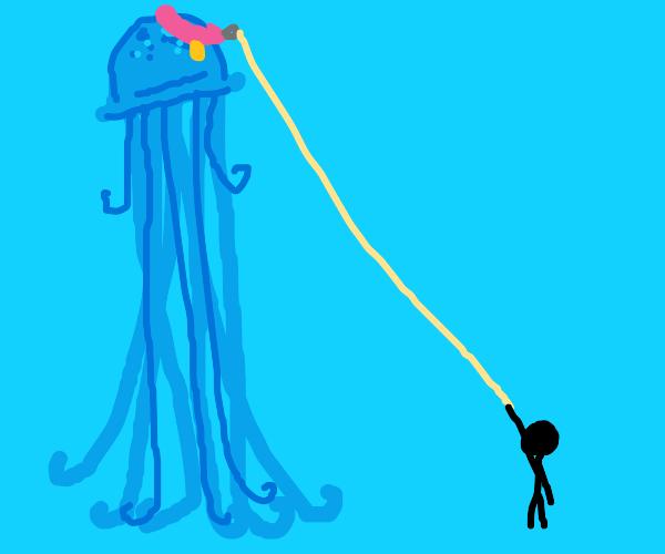 Tall blue jelly on a walk