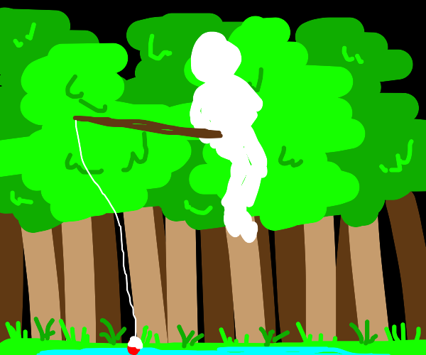 White silhouette fishing above a forest