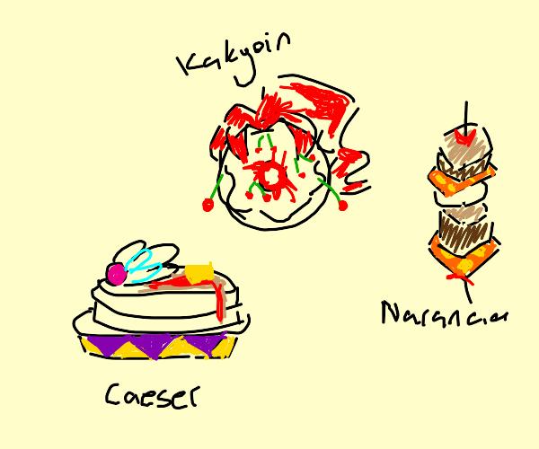 The pancake, donut and shashlik (jjba)