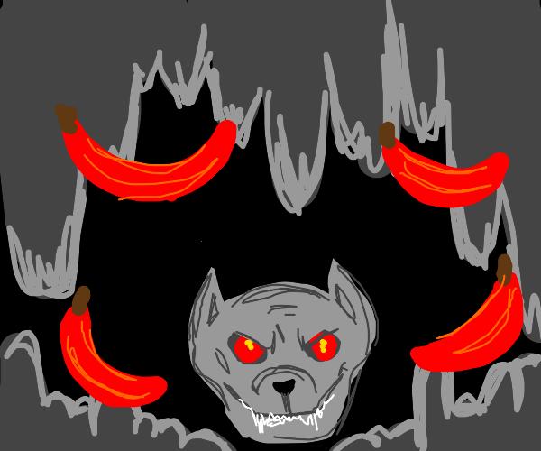 demon dog with red banana
