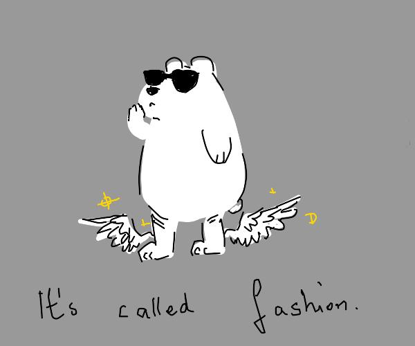 polar bear w/ wings on legs