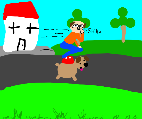 Person happily taking dog out for a walk
