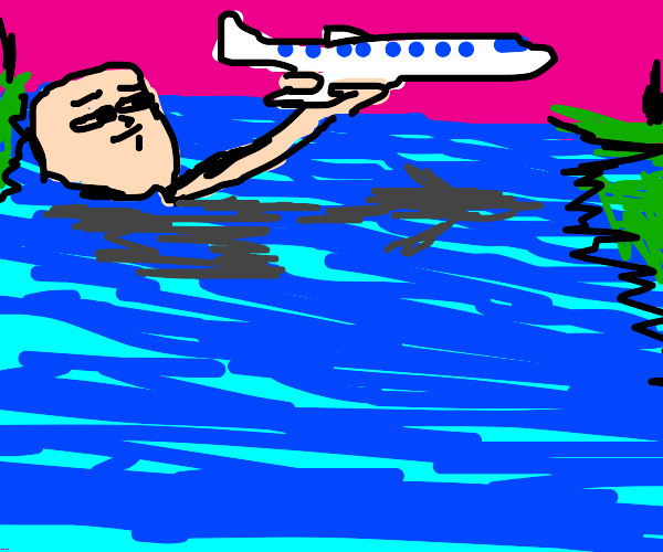 Man holding of an airplane crosses River