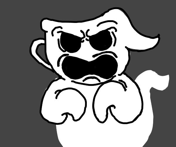 Angry ghost teacup head