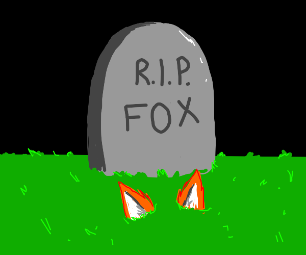 A buried fox with a headstone