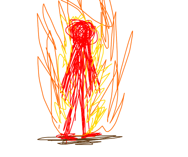 A guy is burning