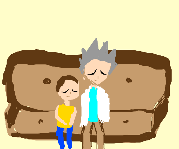 rick and morty napping on the couch