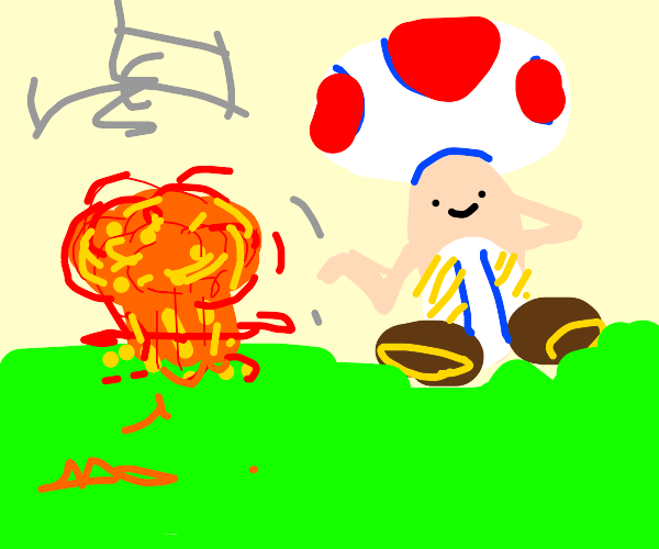 Toad stands in front of giant explosion