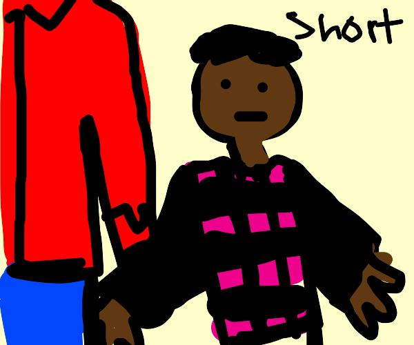 Midget with pink and black checkered shirt