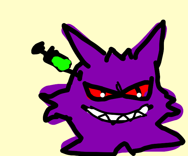 Gengar is injected with green substance