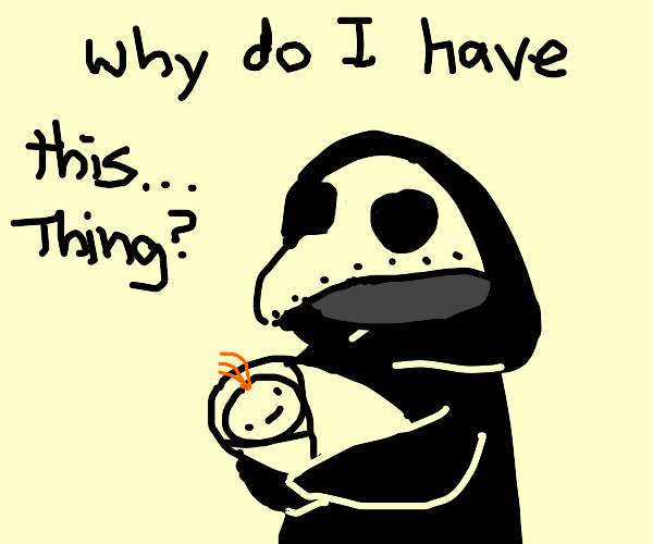 """literal """"witch doctor"""" taking care of a baby"""