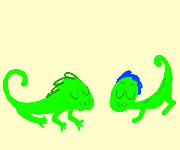 2 Green lizards go uwu