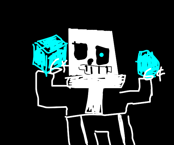 sans in minecraft and two stacks of diamonds!