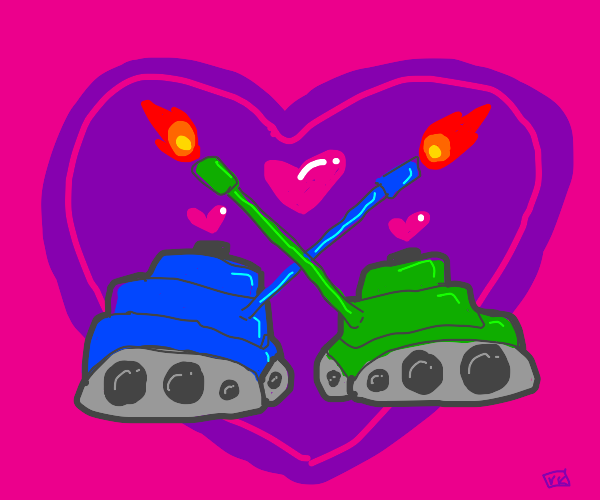 Military tanks in love cross guns and fire