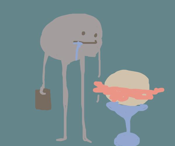 Drooling gray man looking at plain burger