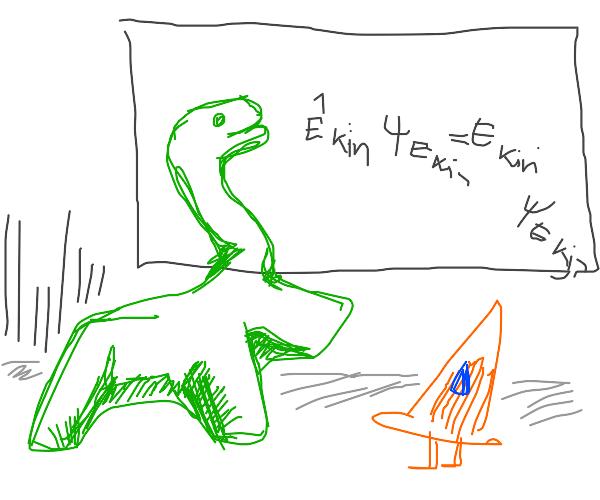 Dinosaur teaches math to cone