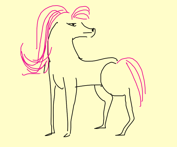 Horse with pink mane
