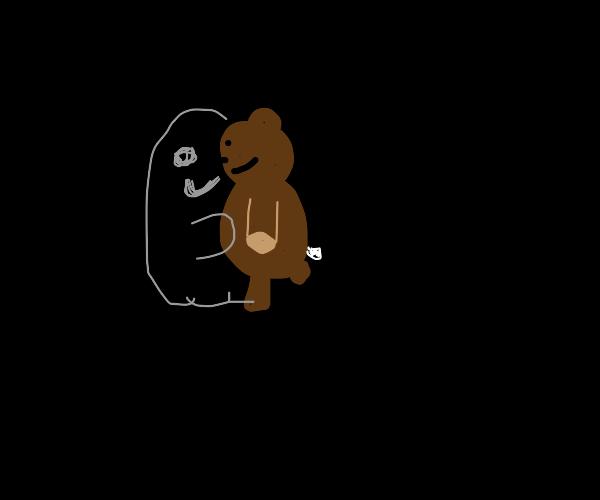 Ghost hugs teddy bear and smiles