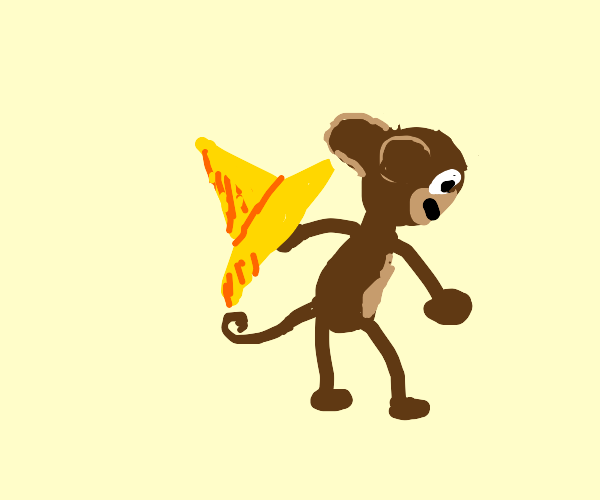 Curious George has stolen his master's hat.